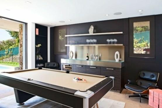 interior design ideen spielraum einrichten billardtisch bar theke