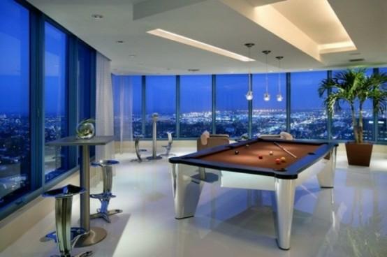 interior design ideen spielraum einrichten billardtisch glas modern