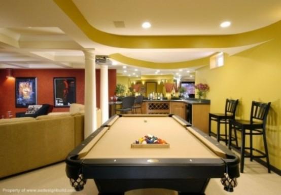 interior design ideen spielraum einrichten billardtisch hell