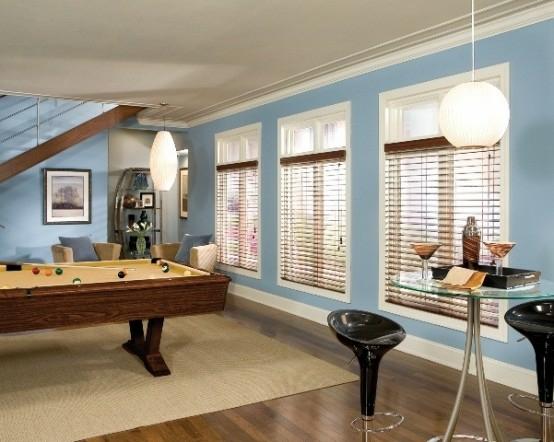 interior design ideen spielraum einrichten billardtisch hellblau