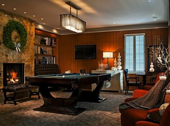 interior design ideen spielraum einrichten billardtisch kamin