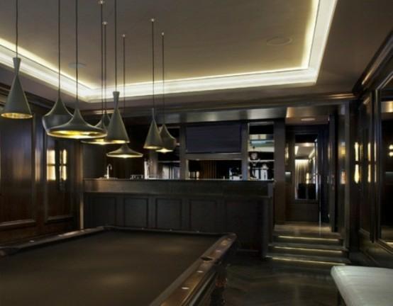 interior design ideen spielraum einrichten billardtisch lampen holz schlicht