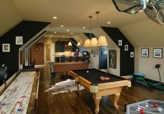 interior design ideen spielraum einrichten billardtisch lampen zebra