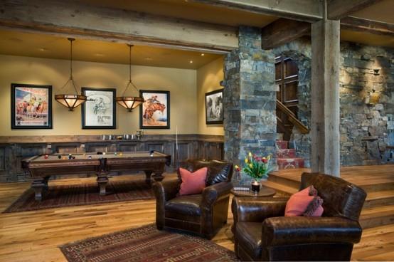 interior design ideen spielraum einrichten billardtisch sessel teppich