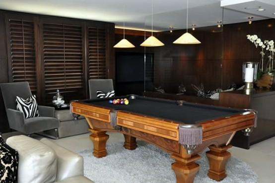 interior design ideen spielraum einrichten billardtisch sessel