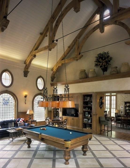 interior design ideen spielraum einrichten billardtisch sofa fernseher