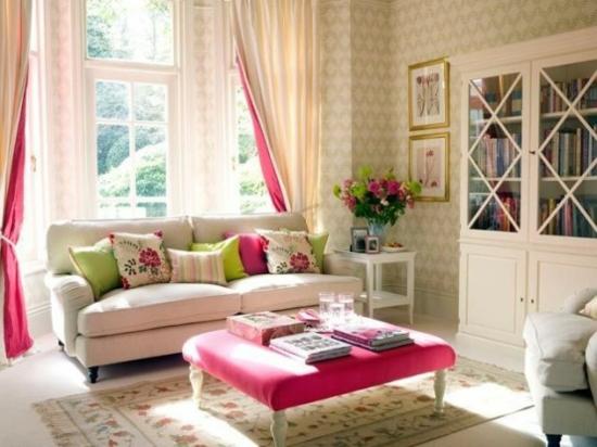interior design ideen weiblich wohnzimmer pastelfarben hell pink