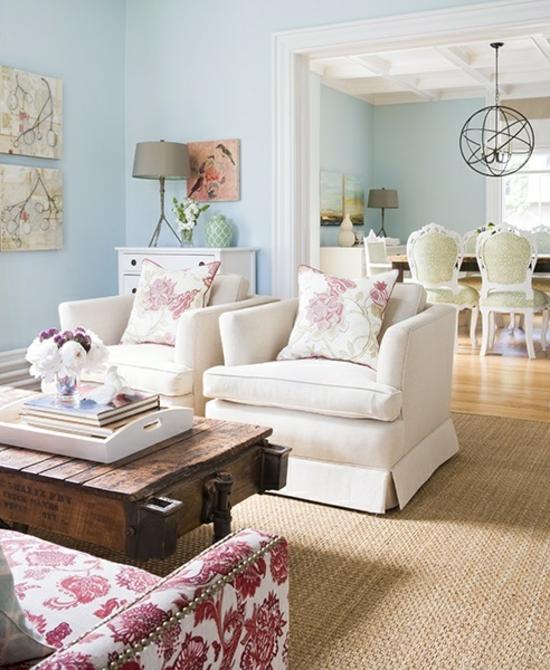 wohnzimmer ideen pink: sich sehr gut mit anderen Akzentfarben, wie Rosa, Pink oder Lila