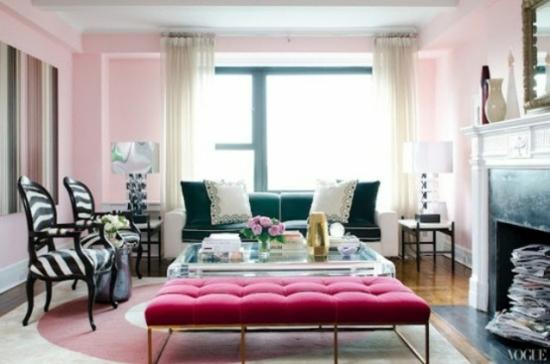 interior design ideen - 50 luftige feminine wohnzimmer designs - Rosa Wandfarbe Wohnzimmer