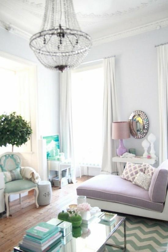 interior design ideen weiblich wohnzimmer pastelfarben hell