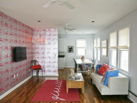 interior design ideen weiblich wohnzimmer pastelfarben wandtapete