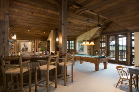 interior home design ideen spielraum dekorieren billardtisch holz