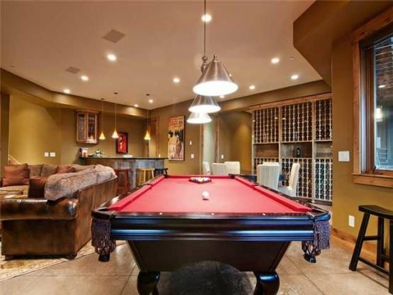 interior home design ideen spielraum dekorieren billardtisch rot
