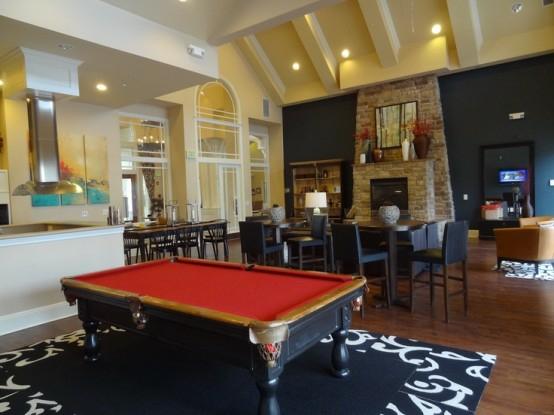 interior home design ideen spielraum dekorieren billardtisch schwarz rot