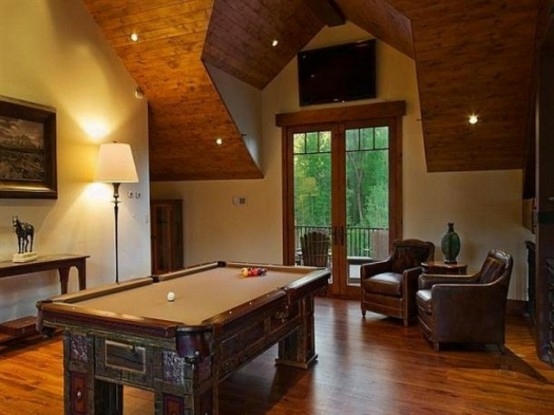 interior home design ideen spielraum einrichten billardtisch antik