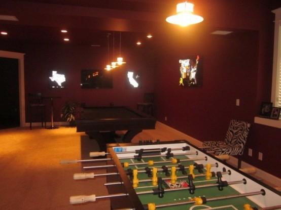 interior home design ideen spielraum einrichten billardtisch fußballtisch