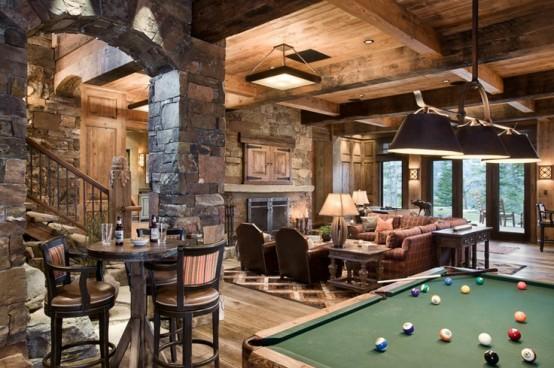 interior home design ideen spielraum einrichten billardtisch grün