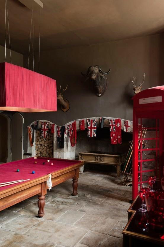 interior home design ideen spielraum einrichten billardtisch kamin rot