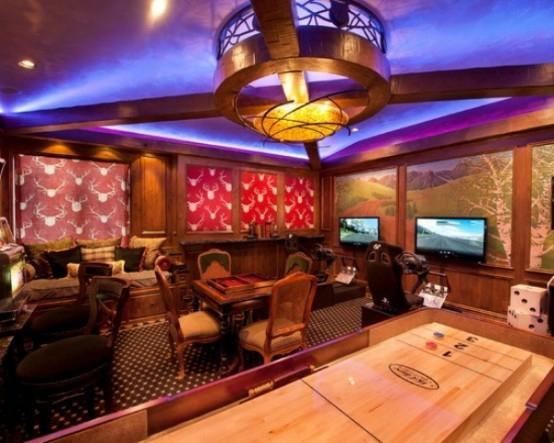 interior home design ideen spielraum einrichten billardtisch spielen