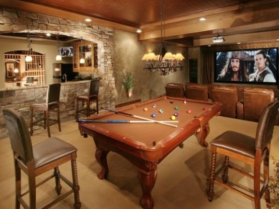 interior home design ideen spielraum einrichten billardtisch ziegelwand theke