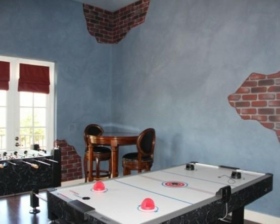 interior home design ideen spielraum einrichten fußballtisch