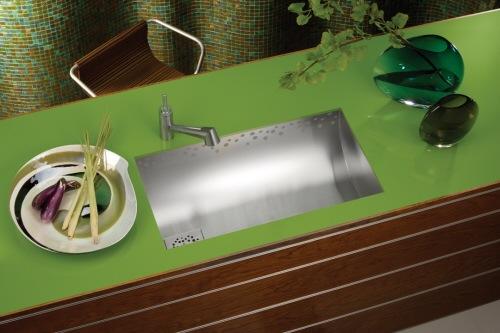 küchen spüle mit  unterschrank grün oberfläche regen elkay