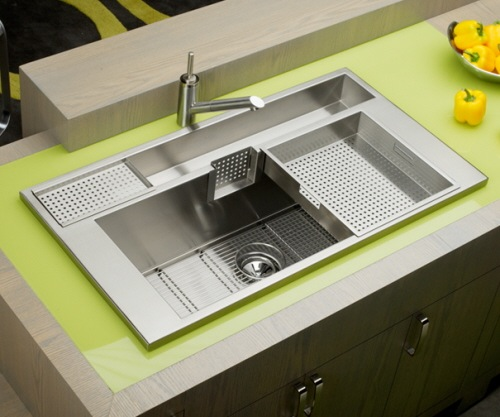 küchen spülebecken mit unterschrank grüne platte holz