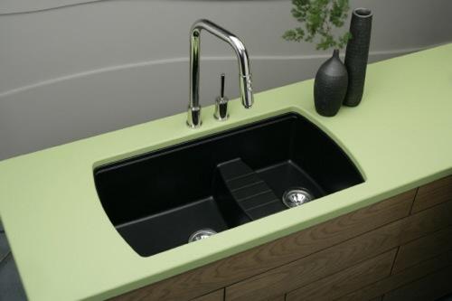 küchen spüle mit unterschrank grüne schwarz becken