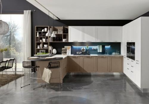 kücheneinrichtung ideen stosa maxim küche halbinsel geschirr regale