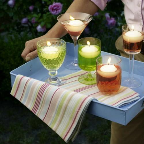 kerzen deko ideen garten cocktail gläser