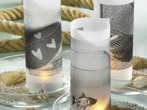 kerzen deko ideen garten draußen monochromatisch mattiert glas