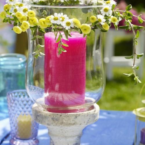kerzen deko ideen garten draußen pink massiv glas