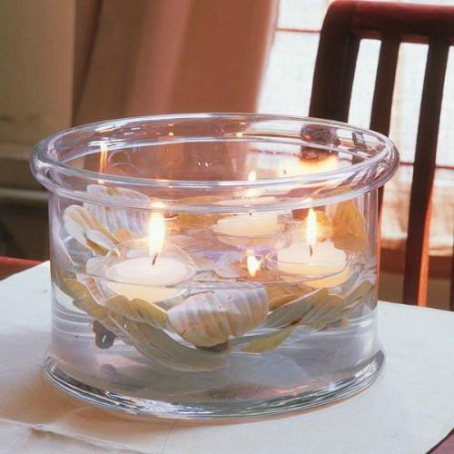 kerzen deko ideen garten draußen schale glas wasser