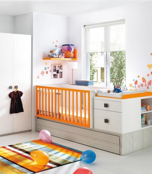 kinderzimmer ausstattung möbel kibuc baby bett farbenfroh orange