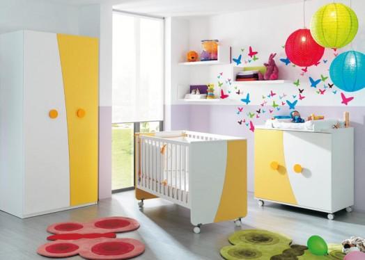 kinderzimmer ausstattung möbel kibuc babybett orange schrank