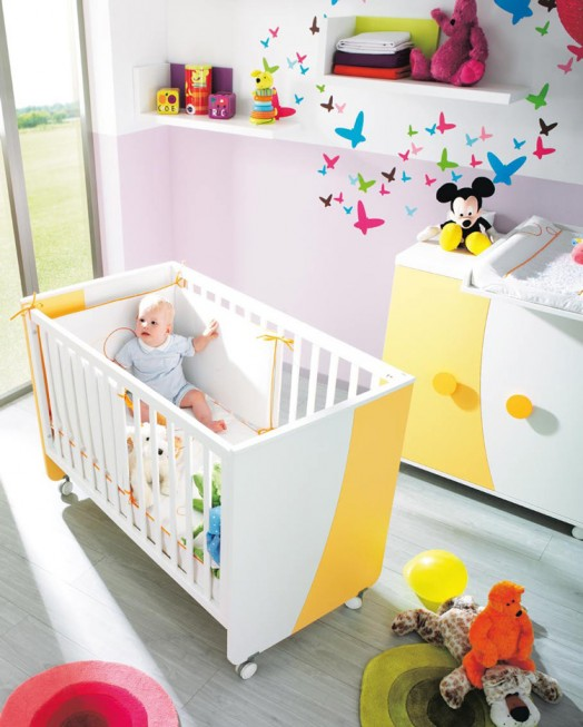 kinderzimmer ausstattung möbel kibuc babybett orange