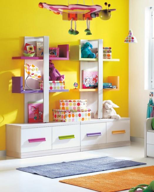 kinderzimmer ausstattung möbel kibuc bett farbenfroh