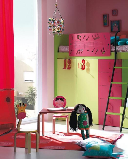 kinderzimmer ausstattung möbel kibuc bett mädchen grün rosa puppe