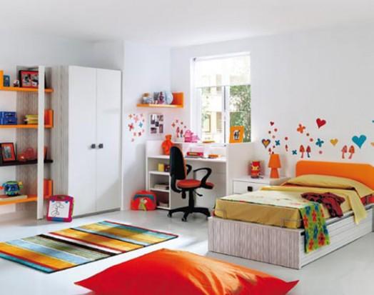 kinderzimmer ausstattung möbel kibuc bett mädchen rot orange