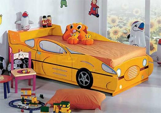 Kinderzimmer Gestalten Junge Bett Auto Gelb Schnell Wagen