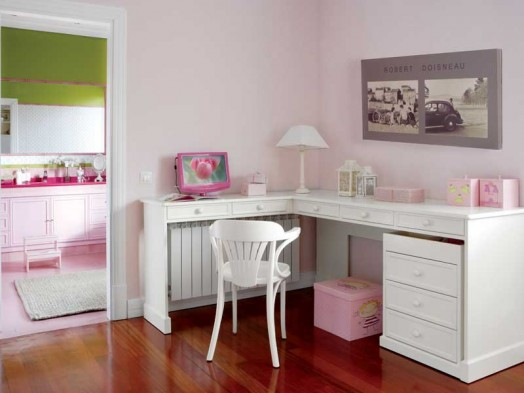 kinderzimmer ideen niedliches dekor in rosa und wei f r m dchen. Black Bedroom Furniture Sets. Home Design Ideas