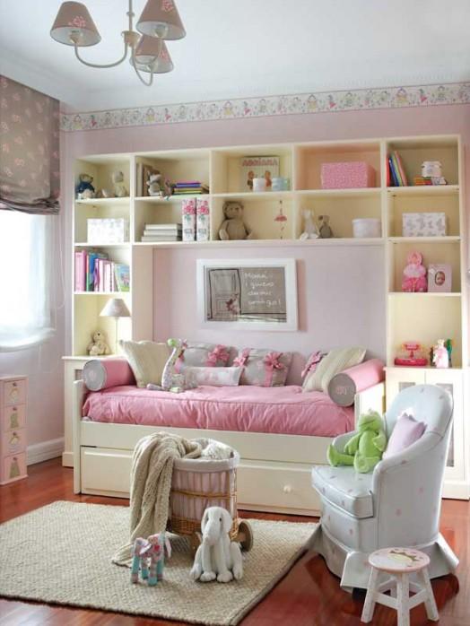 kinderzimmer ideen niedliches dekor in rosa und wei f r m dchen. Black Bedroom Furniture Sets. Home Design Ideas