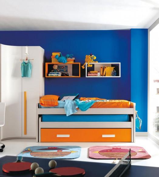 kinderzimmer möbel kibuc bett blau orange akzente tischtennis
