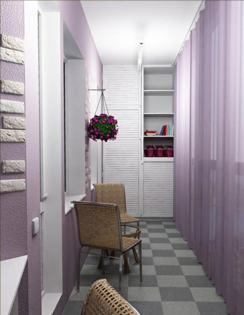 balkon gestalten außenmöbel lila farbtöne gardinen