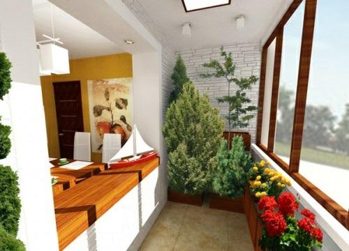 kleinen balkon gestalten holz pflanzen fenster