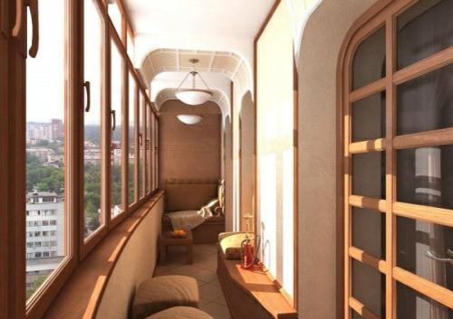 kleinen balkon gestalten holzeinrichtung hocker fenster sofa