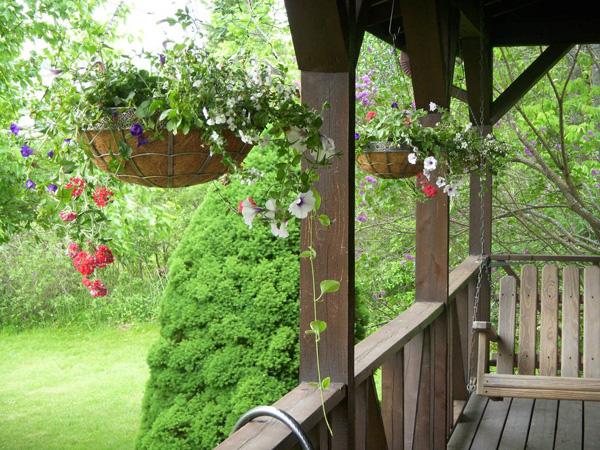 kleinen balkon gestalten pflanzen hängende pflanzen blumentöpfe