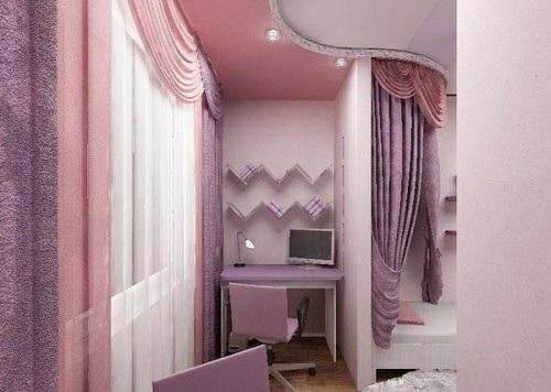 kleinen balkon gestalten rosa lila gardinen schraibtisch