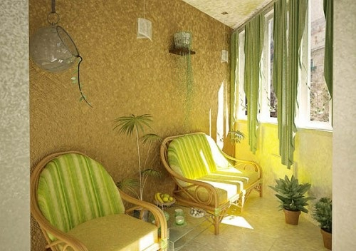 kleinen balkon gestalten sessel auglagen grün gelb
