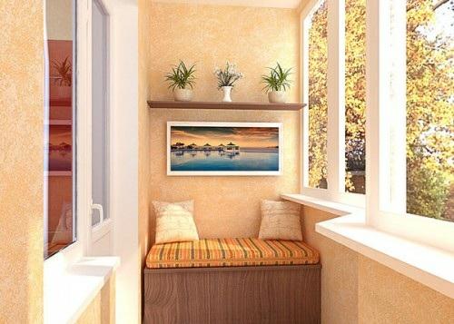 kleinen balkon gestalten sofa wandgemälde kissen